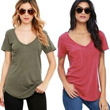 Sexy Women Cotton Short Sleeve Loose Basic Solid Casual Top Blouse Tee T-shirt