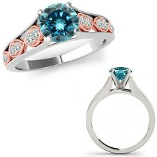1 Ct Blue Diamond Filigree Solitaire Anniversary Ring Band 14K Rose Two Gold