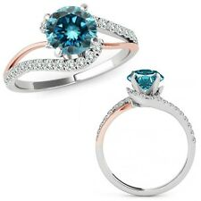 1 Ct Blue Diamond By Pass Solitaire Halo Engagement Ring Band 14K Rose Two Gold