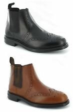 Mens Real Leather Chelsea Ankle Oaktrak Appleby Boots Brogue Casual Shoes Size