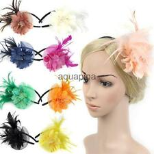 Feather Fascinator Flower Veil Hat Hairband Party Costume for Women