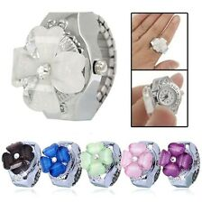 New Women Stainless Steel Green Clover Dial Elastic Sport Ring Quartz Watch Gift