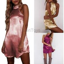Glam Sexy Halterneck Backless Satin Evening Party Night Dress Clubwear for Women