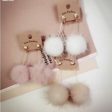 New Women Ear Drop Cute Fuzzy Mink Hair Ball Long Dangler Earring Fashion Gifts