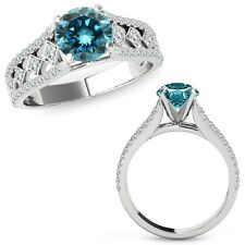 1.25 Ct Blue Diamond Beautiful Solitaire Halo Wedding Ring Band 14K White Gold