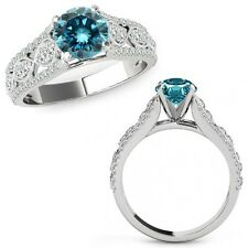 1 Ct Blue Diamond Lovely Solitaire Halo Anniversary Ring Band 14K White Gold