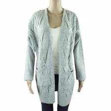 Ex Chainstore Long Grey Cardigan Knitted Thick Warm Winter Womens Size 8-20 NEW