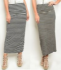 Fashion Women Banded Fold Over Striped Waist Jersey Long Maxi Skirt Ladies