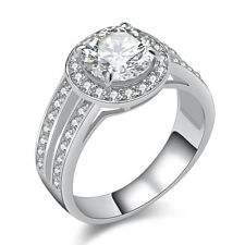 2.0 Ct Round Halo 925 Sterling Silver Wedding Engagement Ring Women's Size 7-9