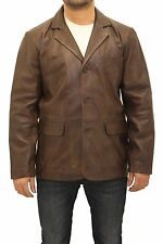 Mens Dark Brown Classic Casual Tailored Fitted 3 Button Blazer Leather Jacket