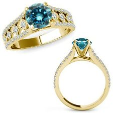 1 Ct Blue Diamond Beautiful Solitaire Halo Engagement Ring Band 14K Yellow Gold