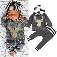 Toddler Baby Boy Christmas Outfit Reindeer Hoodie Top Shirt Pants Casual Clothes