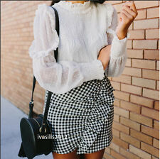 ZARA WOMAN GINGHAM CHECK MINI SKIRT BLACK/WHITE XS,S,M REF. 8342/262