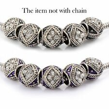 5pscPurple Enamel Crystal European Charms Charm Beads fit snake chain bracelet