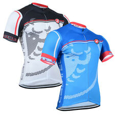 Mens Women Cycling Jersey Breathable Short Sleeve Cyclewear Hidden Zipper Biking