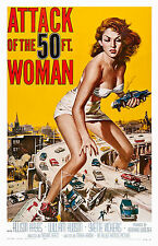 Old Vintage Movie Film Poster, Attack of the 50ft Woman, HD Print or Canvas