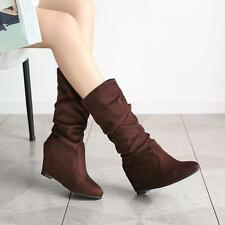 Womens Hidden Wedge Heels Drape Faux Suede Slouch Casual Vintage Mid Calf Boots
