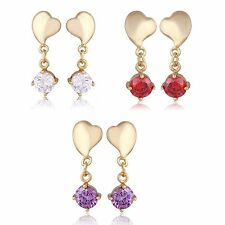 Womens Heart Round Crystal Stud Earrings Dangle Earings Yellow Gold Filled