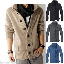 SALE Retro Mens Casual Cardigan Thick Warm Jacket Sweater Knitted Jumper Coat