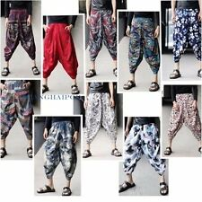 Men Drop Crotch Floral Trousers Pants Baggy Casual Tapered Harem Genie Aladdin