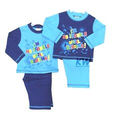 "Baby Boys Cotton Pyjamas ""I'm No Trouble Until Bedtime!"" by Lullaby 6-23 Months"