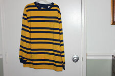 Boys OLD NAVY long sleeve shirt striped yellow and Blue  NWT