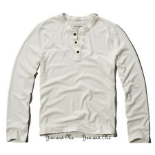 NEW ABERCROMBIE & FITCH LONG SLEEVE SHIRT * A&F Mason Mountain Henley Tee White