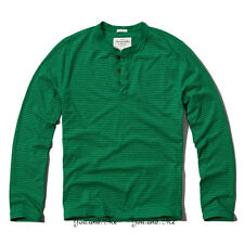 NEW ABERCROMBIE & FITCH L/S Shirt for Men A&F Jay Range Henley Tee Green Stripe