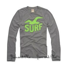 NEW HOLLISTER LONG SLEEVE TEE * Dume Graphic Crew Neck T-Shirt * H Grey S M L XL