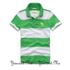 NEW ABERCROMBIE FITCH KIDS A&F Boys Cotton Striped Polo Shirt Green/Wht S M L XL