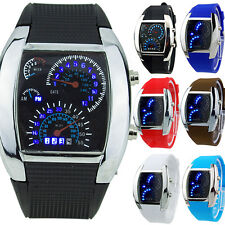 HOT SALE RPM Turbo Blue Flash LED Mens Sports Car Meter Dial Watch Braw
