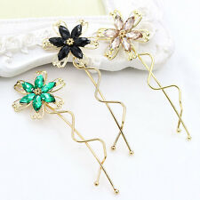 Girl's Rhinestone Flower Crystal Hair Clips Wave Barrettes Bridal Clips Hairpins