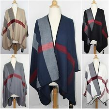 Colorblock Mega Checked Blanket Poncho Cape Oversized Plaid Warm Wrap Shawl