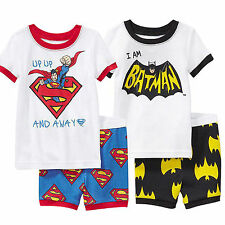 2Pcs Toddler Kids Boys Casual Batman Superman Tops & Pants Outfits Tracksuit Set