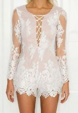 New Womens Sexy V-Neck Lace See Through Long Sleeve Mini Party Club Dress SML