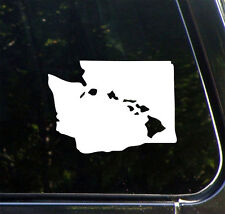 "CAR - Aloha Washington - Hawaiian Islands - Vinyl Car Decal © YYDC (5.5""w x 4""h)"