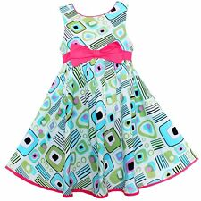 Girls Dress  Geometric Bow Sundress Party Casual Cute Kids Clothing Size 2-10