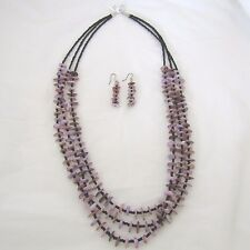 Necklace & Earrings - Purple Mother of Pearl w/ Black Seed Beads - BFJNE89