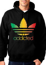 Addicted Rasta Pot Leaf Marijuana Weed Kush 420 Chronic Hooded Sweatshirt Hoodie