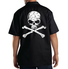 Dickies Black Mechanic Work Shirt Distressed Skull White Ink Motorcycle Biker