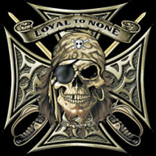 Loyal To None Iron Cross Pirate Skull & Swords Motorcycle Biker T-Shirt Tee