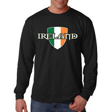 Ireland Flag Colors Irish Pride Distressed Crest Long Sleeve T-Shirt Tee
