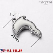Wholesale Stainless Steel Silver Dolphin Charm Pendant Jewelry Supplies 23x15mm