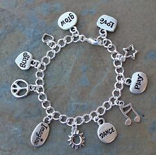 Inspirational Words Charm Bracelet - Silver plated chain & charms with crystals