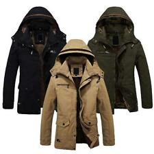 Mens Snow Winter Hooded Jacket Military Outerwear Warm Fur lined Long Coat Parka