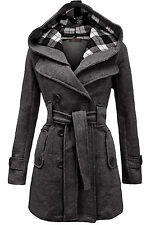Womens Stylish Belted Double Breasted Lapel Wool Trench Coat Jacket Overcoat