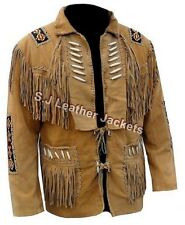 Men's Fashion Western Style Fringed. Beaded & Bonned Jacket - Cow Suede Leather
