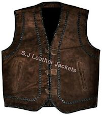 Men's Fashion Western Suede Leather Vest Cow Suede