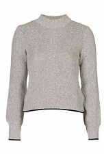 NEW X Topshop Ladies Chunky Textured Knit Grey Turtle Neck Crop Jumper Size 6-16