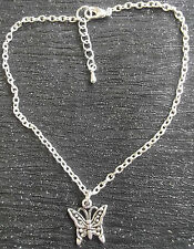 Silver plated ankle chain tibetan silver butterfly charm anklet ankle bracelet